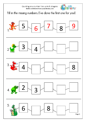 Preview of worksheet Counting dragons on a number line