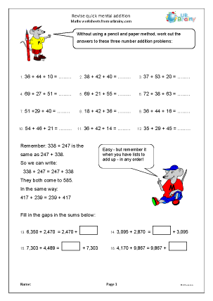 Preview of worksheet Revise quick mental addition