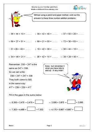 math worksheet : revise quick mental addition addition maths worksheets for year 6  : Quick Maths Worksheets