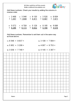 Preview of worksheet  Written addition of thousands