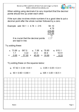 Preview of worksheet  Written addition of decimals and large numbers