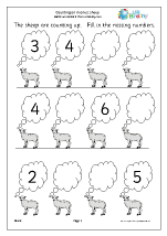 completing a number line sheep number lines maths worksheets for later reception age 4 5. Black Bedroom Furniture Sets. Home Design Ideas