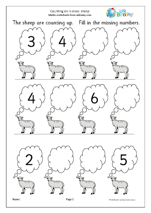 Preview of worksheet Completing a number line - sheep