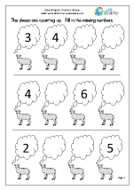 Completing a number line - sheep