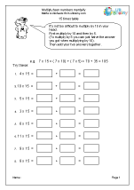 math worksheet : multiplication maths worksheets for year 6 age 10 11  : Mental Multiplication Worksheets