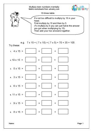 Mental Multiplication Worksheets Year 4 - mental math worksheets ...