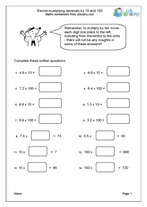 Multiply decimals by 10 and 100