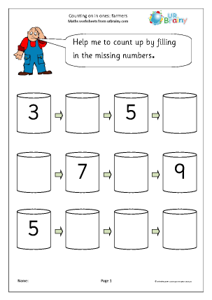 Preview of worksheet Completing a number line - farmers