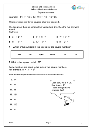 Preview of worksheet  Square and cube numbers