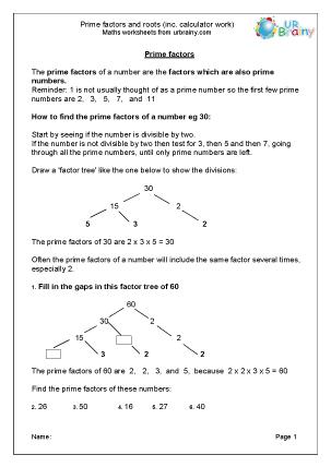 Preview of worksheet  Prime factors