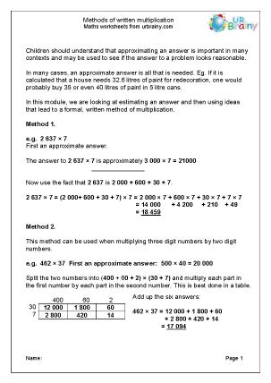 Preview of worksheet Various methods of written multiplication