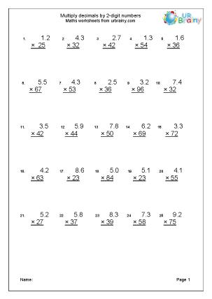 Multiplication practice with decimals