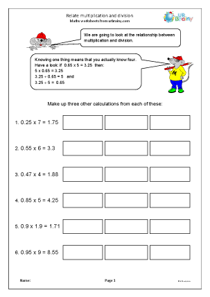 Preview of worksheet Relate multiplication and division
