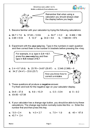 Printables Calculator Worksheets develop calculator skills division and fractions maths worksheets skills