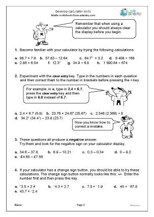 Preview of worksheet Develop calculator skills