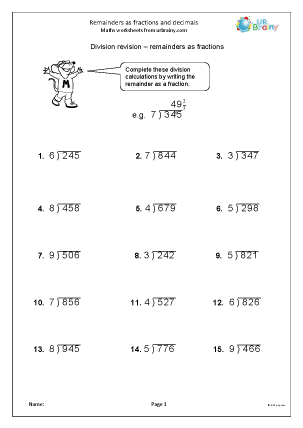 math worksheet : remainders as fractions division maths worksheets for year 6 age  : Fractions And Division Worksheets