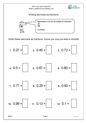 Preview of worksheet  Decimals and fractions