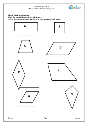 Preview of worksheet More shape work