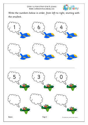 Preview of worksheet Order numbers from 0-9: planes