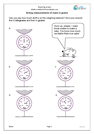 Preview of worksheet  Reading scales