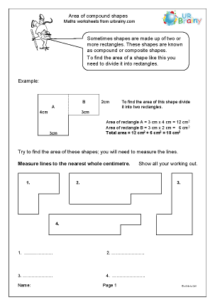 Worksheets Area Of Compound Shapes Worksheet area of compound shapes measuring maths worksheets for year 6 age shapes