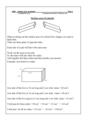 Preview of worksheet  Surface area of cuboids
