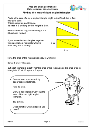 Area of Right Angled Triangles
