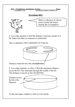 Preview of worksheet  Circumference and diameter of circles