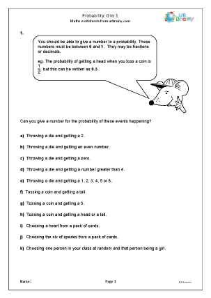 Preview of worksheet  Probability: 0 to 1