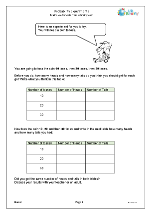 Preview of worksheet Probability experiments