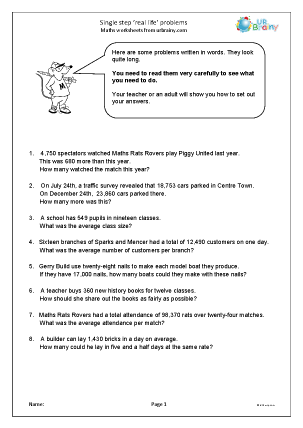 Preview of worksheet Single step 'real life' problems