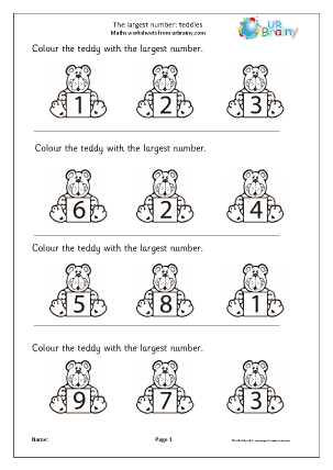 Preview of worksheet Which is the largest number? Teddies
