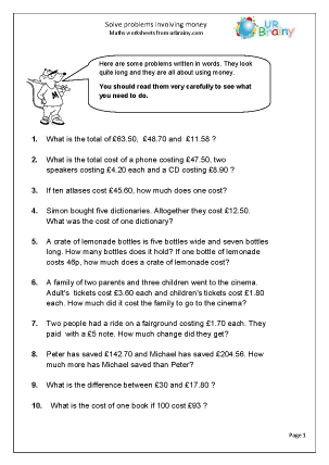 maths homework year 4 problem solving