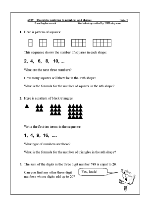 Preview of worksheet Recognise patterns in numbers and shapes