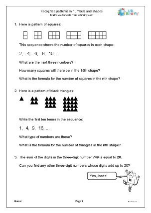 Recognise Patterns in Numbers and Shapes