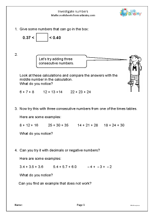 Preview of worksheet Investigate numbers