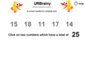Preview of game  Which Two Numbers have a Total of ?
