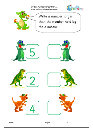 Preview of worksheet Write a larger number: dinosaurs
