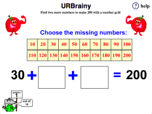 Find 2 More Numbers to Make 200 with a Number Grid