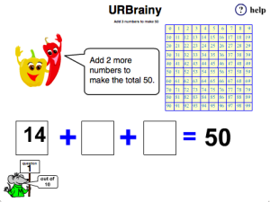 Add 3 Numbers to Make 50 with a Number Grid