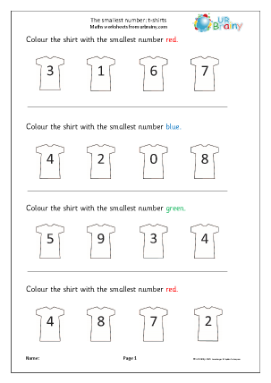 which is the smallest number tshirts ordering numbers maths worksheets for later reception age. Black Bedroom Furniture Sets. Home Design Ideas