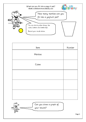 Preview of worksheet Yogurt Pot Survey