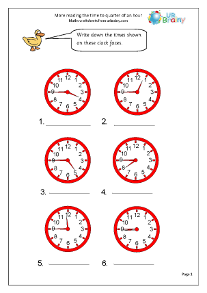 Preview of worksheet More reading time to the quarter hour