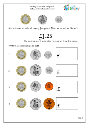 Preview of worksheet Writing in pounds and pence