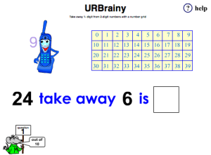 Preview of game  Take Away 1-Digit from 2-Digit Numbers with a Number Grid