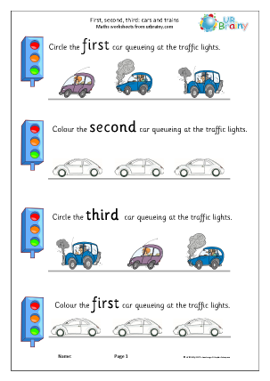 Preview of worksheet First second and third: cars