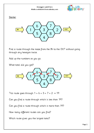 Preview of worksheet Hexagon challenge