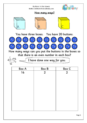 Preview of worksheet Buttons in the boxes