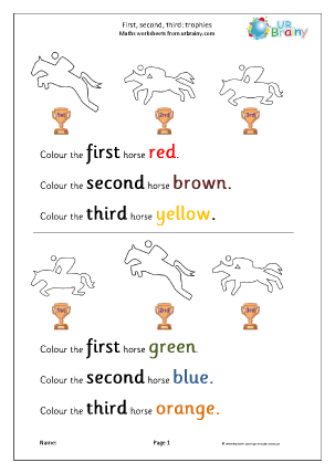 URBrainy Maths Worksheets Later Reception (age 4-5) Ordering Numbers ...