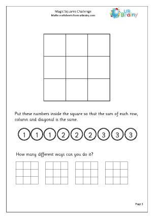 Preview of worksheet Magic squares